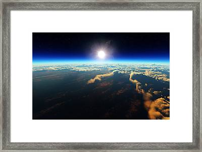 Earth Sunrise From Outer Space Framed Print by Johan Swanepoel