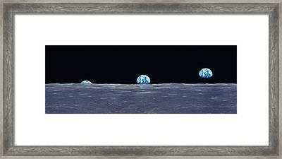Earth Viewed From The Moon Framed Print by Panoramic Images