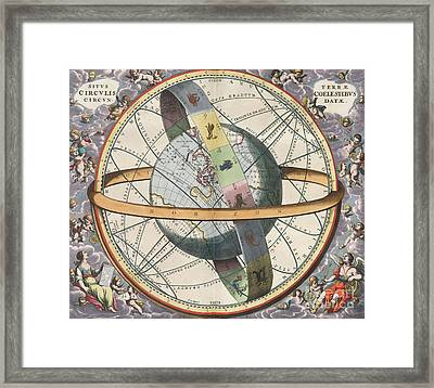 Earth With Celestial Circles Harmonia Framed Print