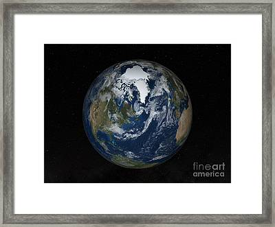 Earth With Clouds And Sea Ice Framed Print