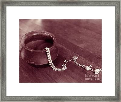 Framed Print featuring the photograph Earthen Pot And Silver by Mukta Gupta
