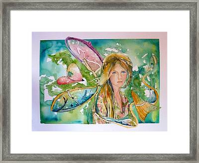 Framed Print featuring the painting Earthly Butterfly by P Maure Bausch