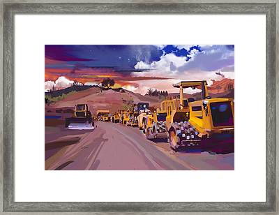 Earthmover Dawn Framed Print by Brad Burns
