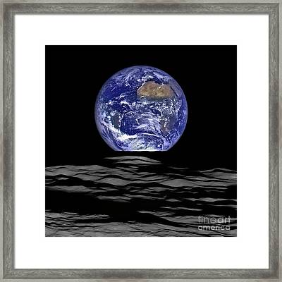 Earthrise, Lunar Earth Rise On The Moon Framed Print by Tina Lavoie