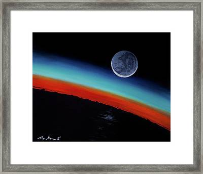 Earthshine Framed Print by Ron Garan