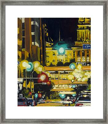 East 13th And Locust St Des Moines Framed Print by Robert Reeves