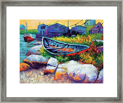East Coast Boat Framed Print by Marion Rose