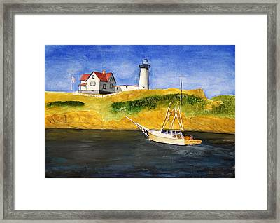 East Coast Lighthouse With Crab Boat Framed Print by Robert Thomaston