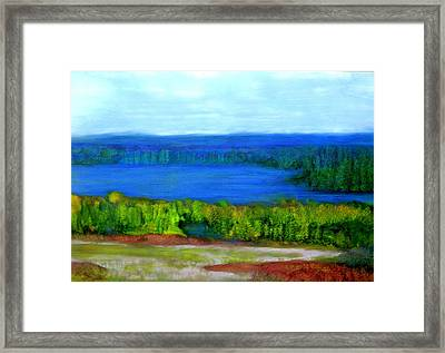 Framed Print featuring the painting East Grand Lake Maine by FeatherStone Studio Julie A Miller