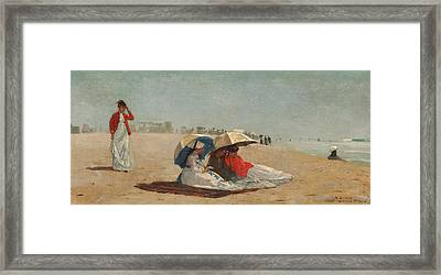 East Hampton Beach Long Island Framed Print by Winslow Homer