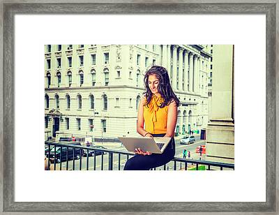 East Indian American Businesswoman In New York Framed Print