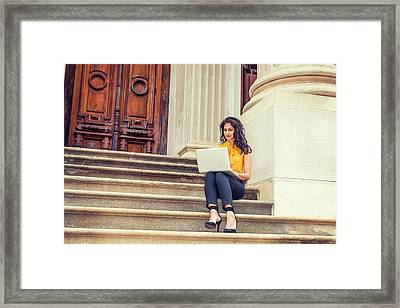 East Indian American College Student Studying In New York Framed Print
