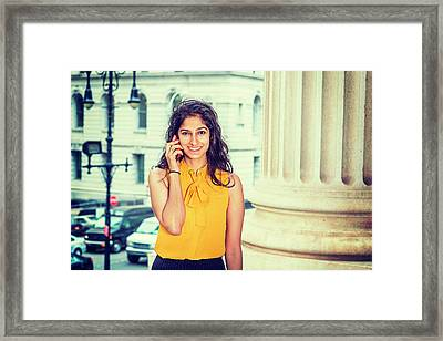 East Indian Woman Calling Outside Framed Print