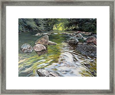 Framed Print featuring the painting East Okement River by Lawrence Dyer