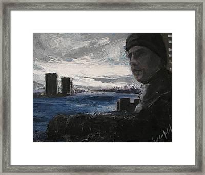 East River Blues Framed Print by Gail Eisenfeld