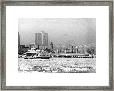 East River Piers Are Endangered By The Oil Slick Caused By The Wreck Of The Empress Bay. 1977 Framed Print