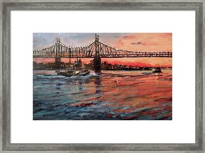 East River Tugboats Framed Print