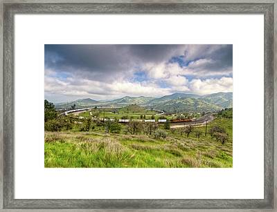 Eastbound Train At The Tehachapi Loop Framed Print