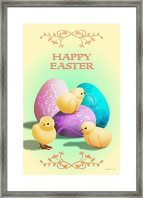 Easter Card With Baby Chicks Framed Print