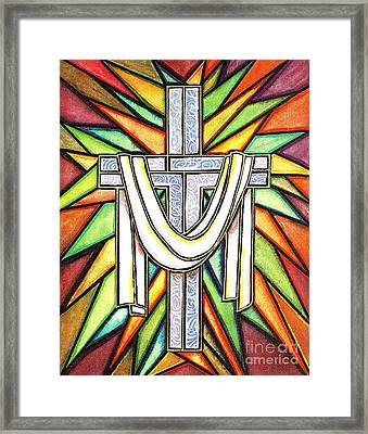 Framed Print featuring the painting Easter Cross 5 by Jim Harris