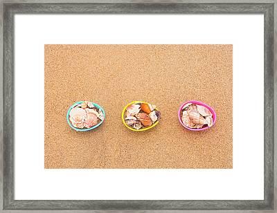Easter Egg Baskets On Beach Framed Print