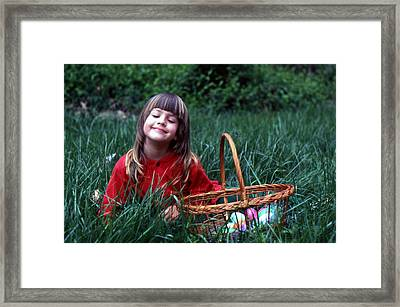 Framed Print featuring the photograph Easter Egg Hunt by Lori Miller
