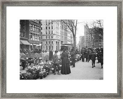 Easter Flower Vendors In New York City Framed Print by Padre Art