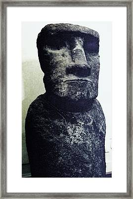Framed Print featuring the painting Easter Island Stone Statue by Eric  Schiabor