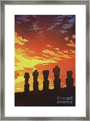 Easter Island Sunset Framed Print by Ryan Fox