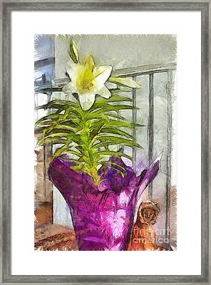 Easter Lily And Doll Framed Print by Claire Bull