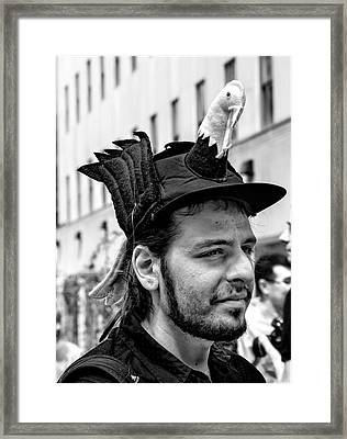 Easter Parade Nyc 2017 Man With Bird On Hat Framed Print by Robert Ullmann