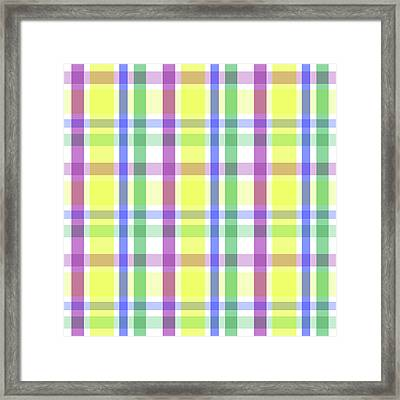 Framed Print featuring the digital art Easter Pastel Plaid Striped Pattern by Shelley Neff