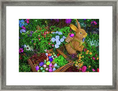 Easter Rabbit In Garden Framed Print