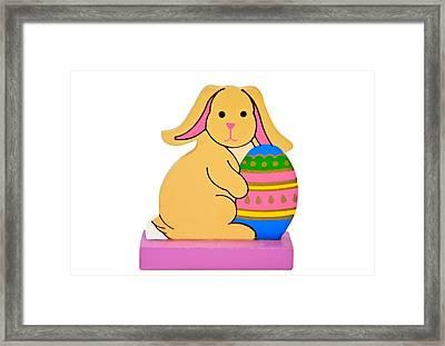 Easter Rabbit With Egg Framed Print by Susan Leggett