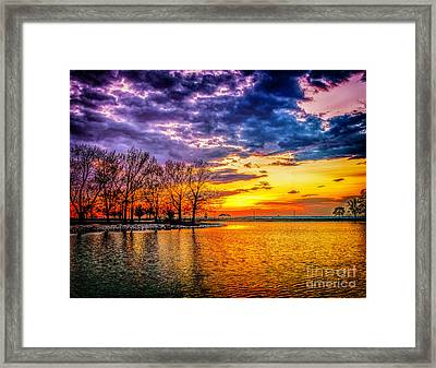 Framed Print featuring the photograph Easter Sunset At Riverview Beach Park by Nick Zelinsky