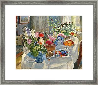 Easter Table Framed Print by Alexander Vladimirovich Makovsky