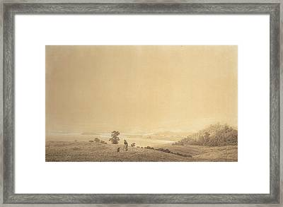 Eastern Coast Of Rugen Island With Shepherd Framed Print by Caspar David Friedrich