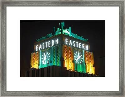 Eastern Columbia Clock Framed Print