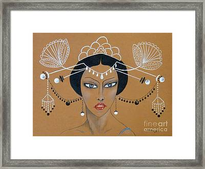 Eastern Elegance -- Whimsical Asian Woman Framed Print