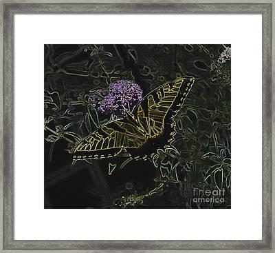 Eastern Tiger Swallowtail Butterfly - Neon Glow Framed Print by Scott D Van Osdol