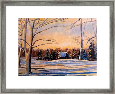 Eastern Townships In Winter Framed Print by Carole Spandau