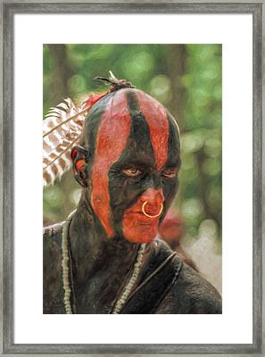 Eastern Woodland Indian Portrait Framed Print by Randy Steele