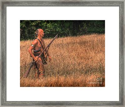 Eastern Woodlands Indian Scout  Framed Print by Randy Steele
