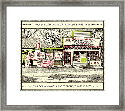 Framed Print featuring the painting Eastside Market by Chholing Taha