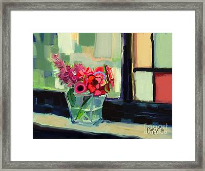 Easy Day By The Window Framed Print by Carrie Joy Byrnes