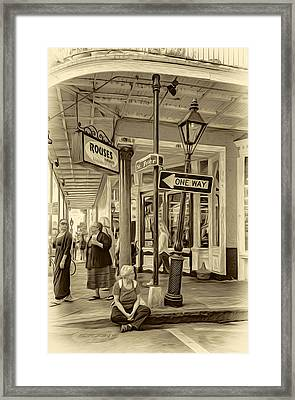 Easy Times In The Big Easy - Sepia Framed Print