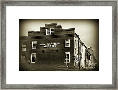 Framed Print featuring the photograph Eat Berthas Mussels In Black And White by Paul Ward