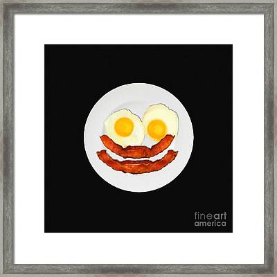 Eat Breakfast And Smile All Day Blk Framed Print