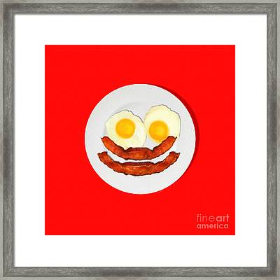 Eat Breakfast And Smile All Day Red Framed Print by Wingsdomain Art and Photography