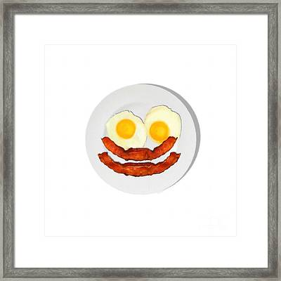 Eat Breakfast And Smile All Day Whi Framed Print
